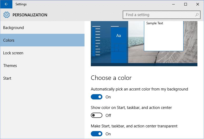 Change the color of Start menu step3