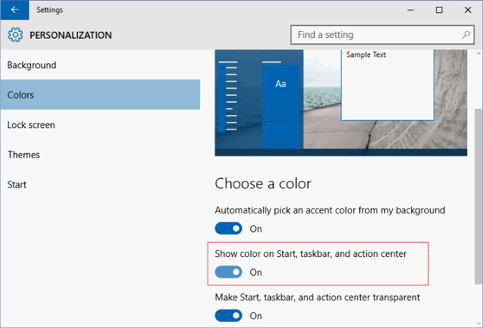 change the color of Windows 10 start menu