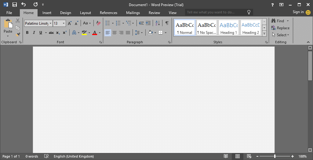 Dark theme in Office 2016 enable