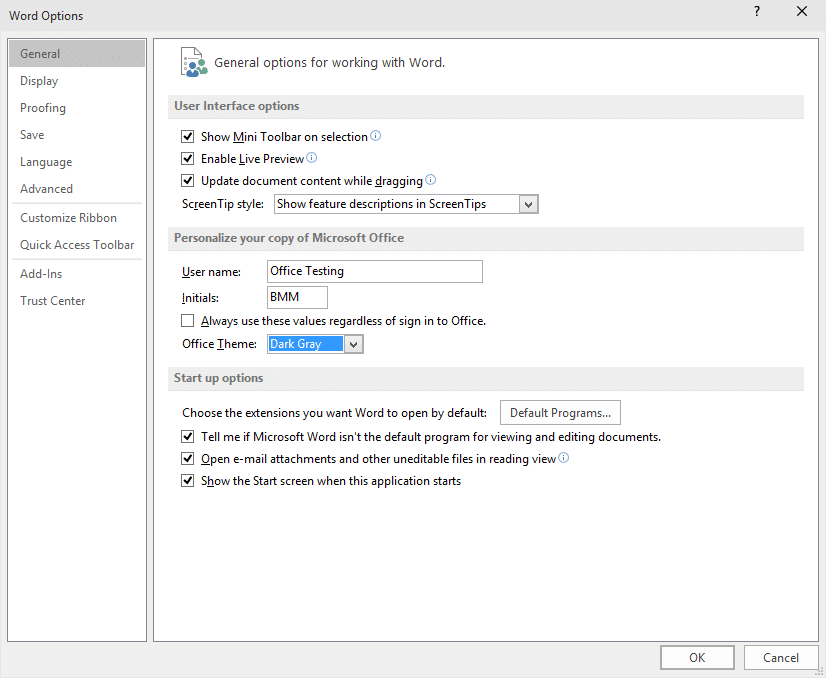 Dark theme in Office 2016 picture5