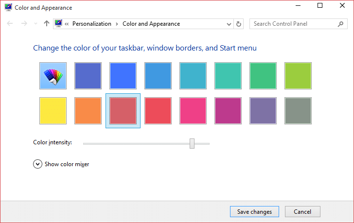Open Color and Appearance in Windows 10