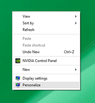 Open personalization panel Windows 10 step1