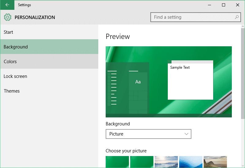 open personalization panel Windows 10