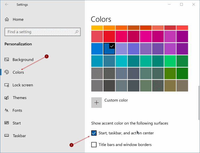 change start menu color in Windows 10 pic1