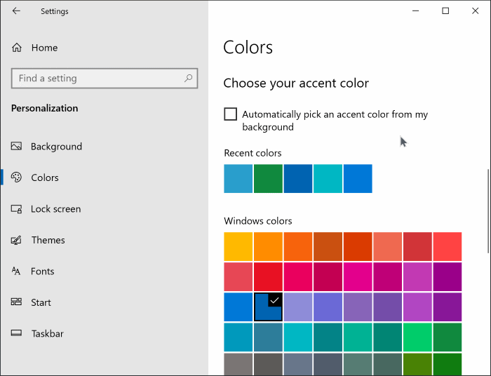 change start menu color in Windows 10 pic2