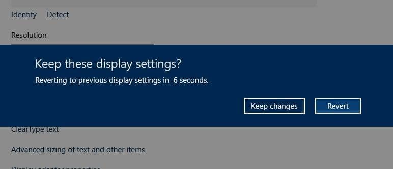 Change screen resolution Windows 10