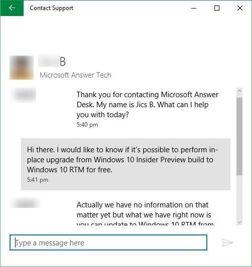 Chat with Microsoft support Windows 10 step6