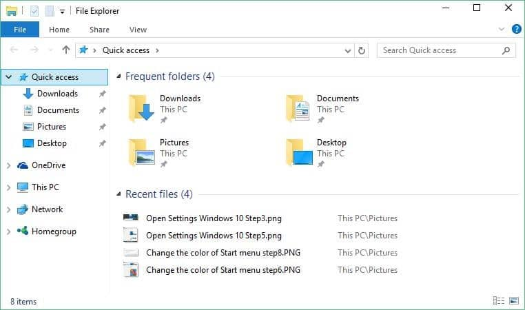 how to clear quick access on windows 10