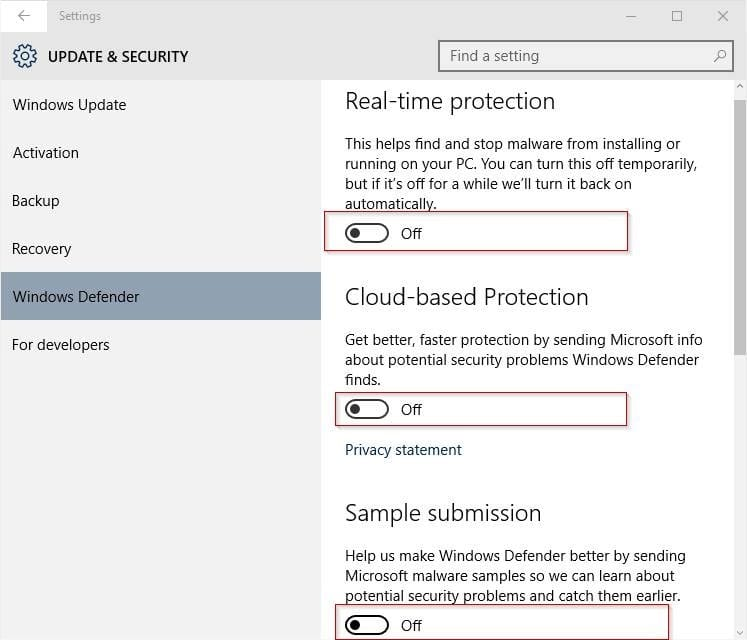Disable Windows Defender in Windows 10 step4