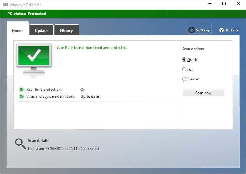 Disable Windows Defender in Windows 10