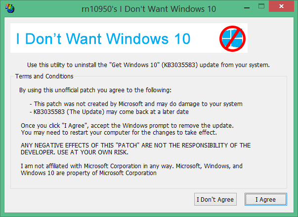 I Don't Want Windows 10 tool