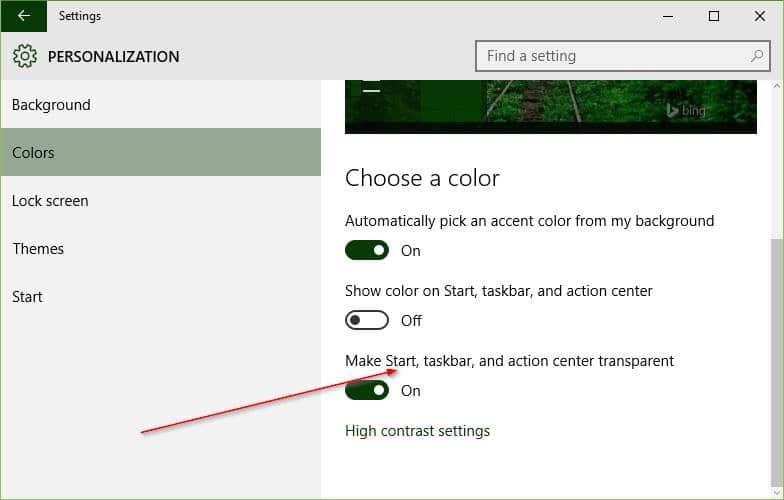 Make Taskbar transparent Windows 10 picture1