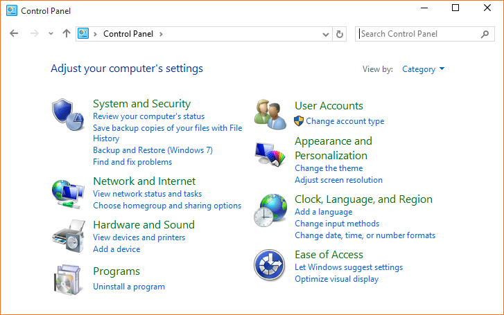 Open Control Panel Windows 10 step01