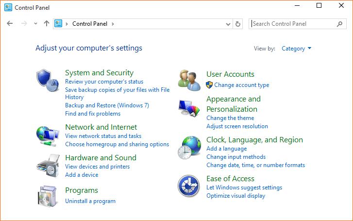Open Control Panel Windows 10 step01