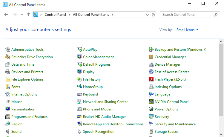 where is display in control panel windows 10