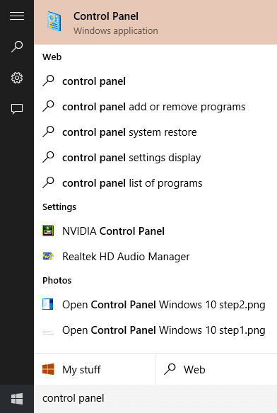 Open Control Panel Windows 10 step3