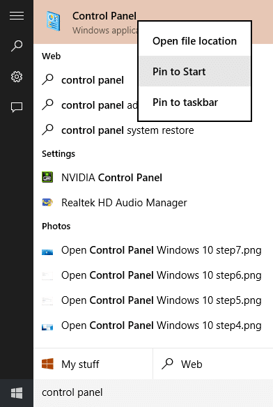 Open Control Panel Windows 10 step8