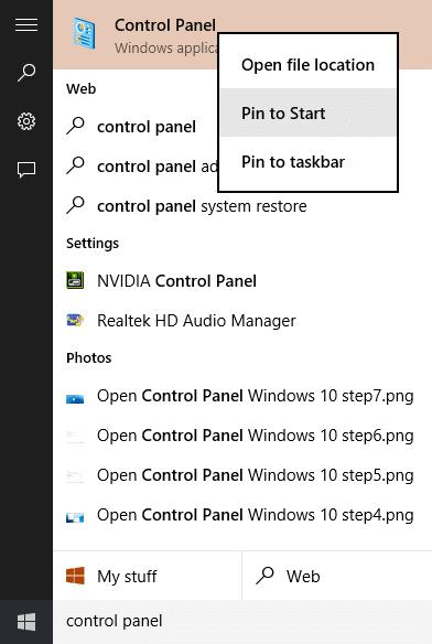 Open Control Panel Windows 10 step8