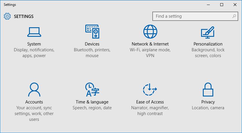 Open Settings Windows 10 Step1