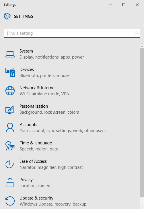 Open Settings Windows 10 Step2
