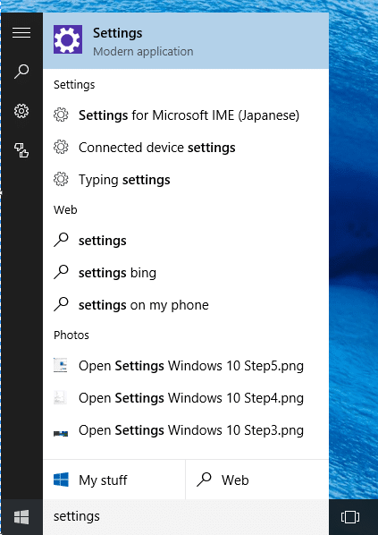 Open Settings Windows 10 Step6