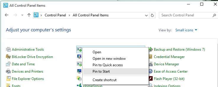 Pin favorite settings Start menu Windows 10 picture1