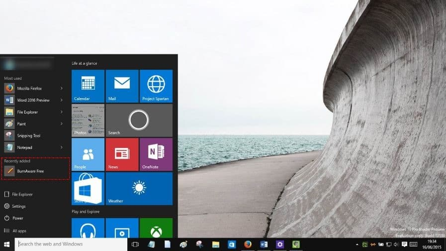 Remove recently added group from Start menu Windows 10