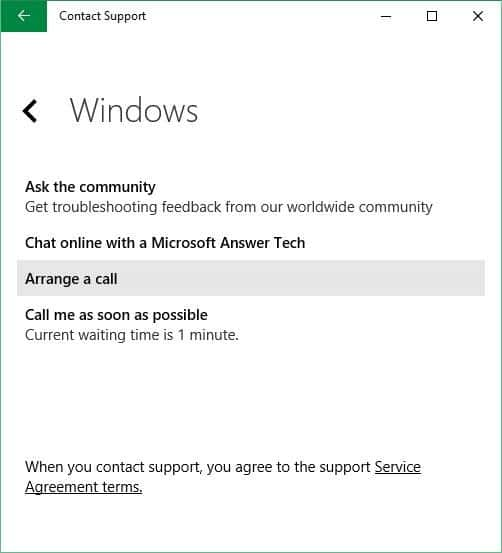 Schedule a call back from Microsoft in Windows 10 step5