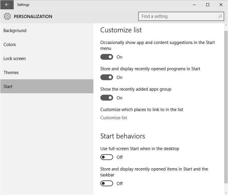 there is a proper Start menu in Windows  Open Start Menu Settings In Windows 10