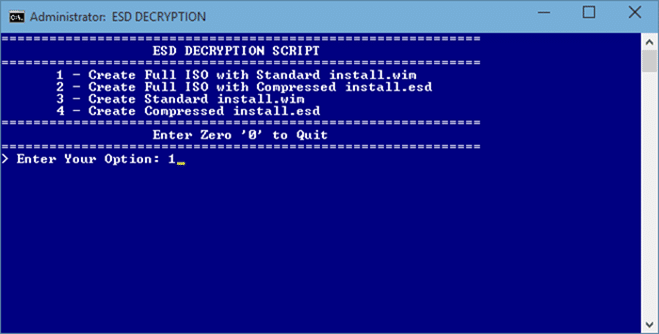 Windows 10 iso from ESD file step1