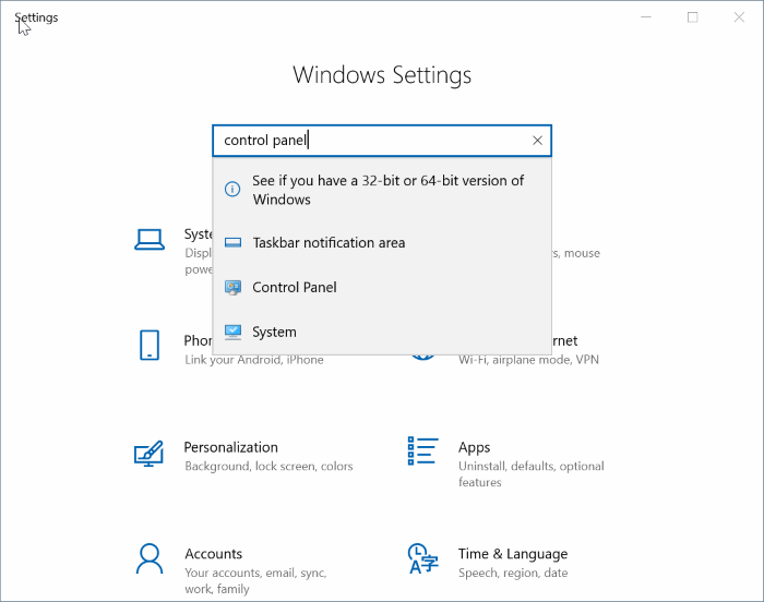 open control panel in Windows 10 pic5