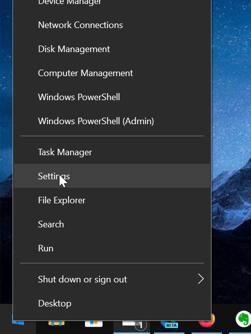 open settinsg in Windows 10
