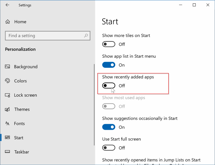 remove recently added apps from Start menu in Windows 10 pic3