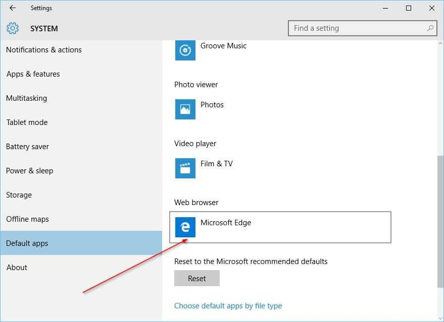 Change Default Browser In Windows 10 step3