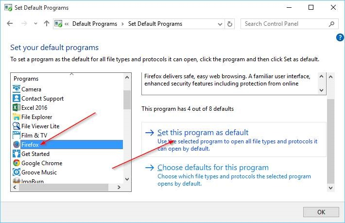 Change Default Browser In Windows 10 step8
