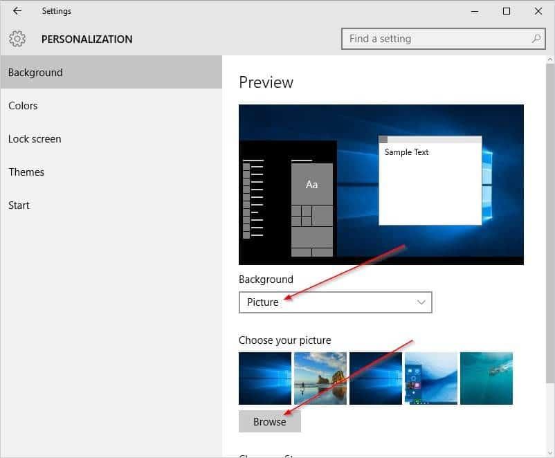 Change Desktop background Windows 10 step2