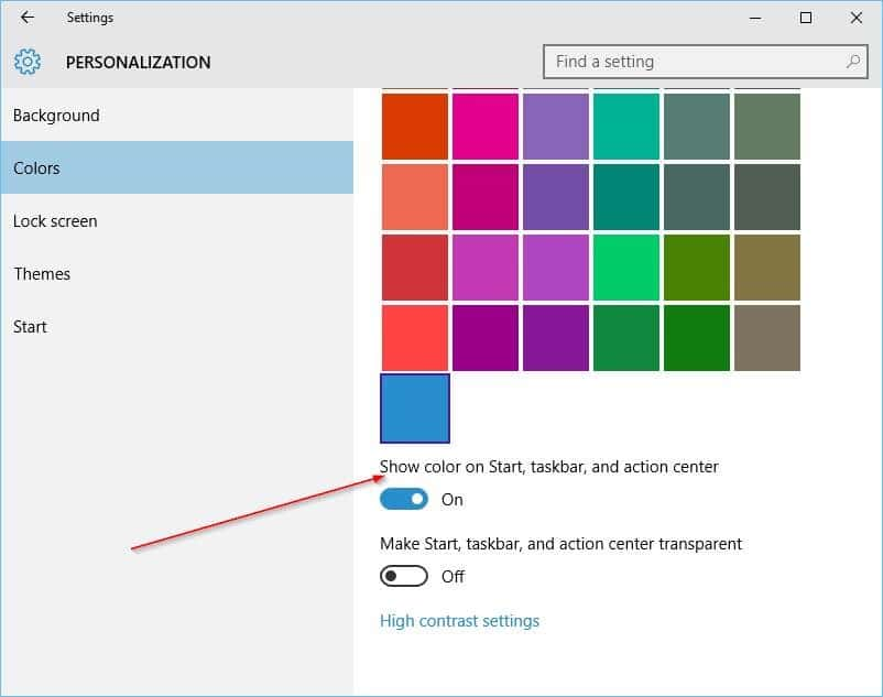 Change the color of taskbar in Windows 10 step2
