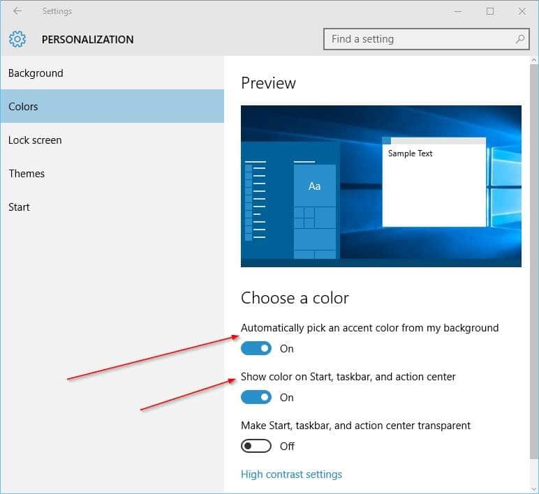 Change the color of taskbar in Windows 10 step4