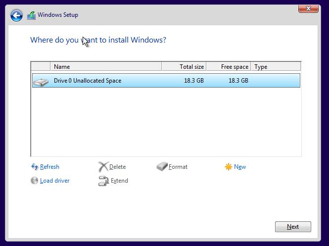 Clean install Windows 10 Step9
