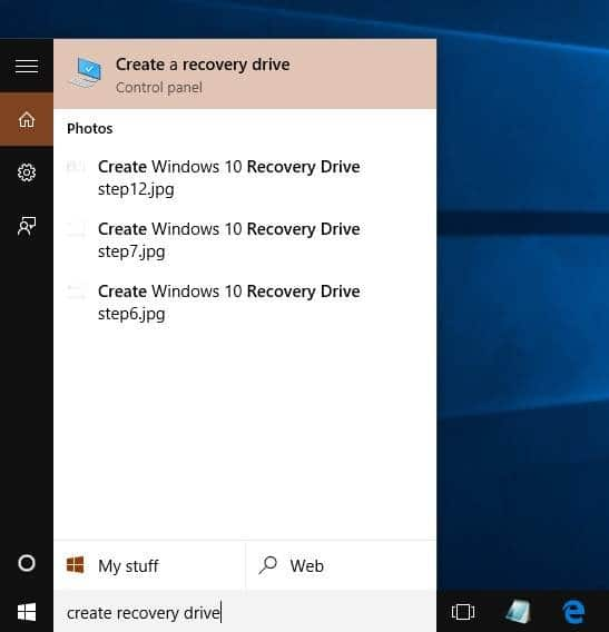 Create Windows 10 Recovery Drive step1