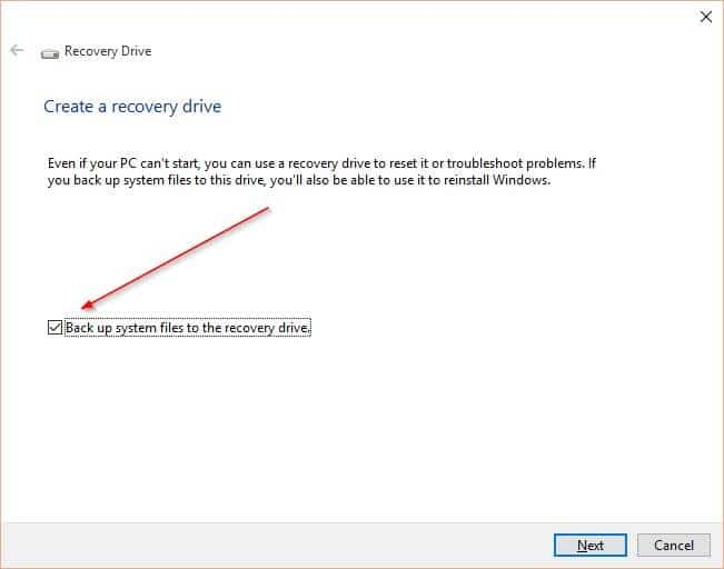 Create Windows 10 Recovery Drive step2