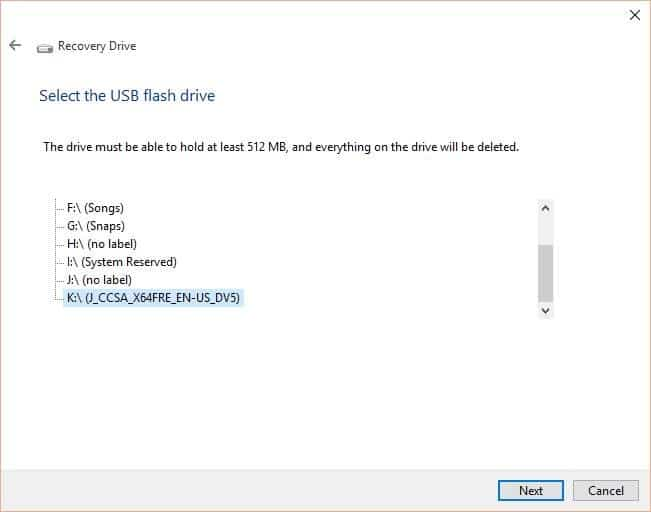 Create Windows 10 Recovery Drive step3