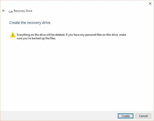 Create Windows 10 Recovery Drive step4