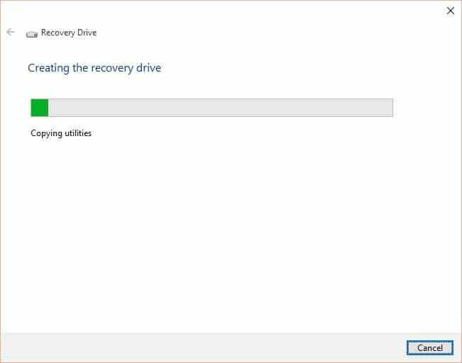 Create Windows 10 Recovery Drive step6