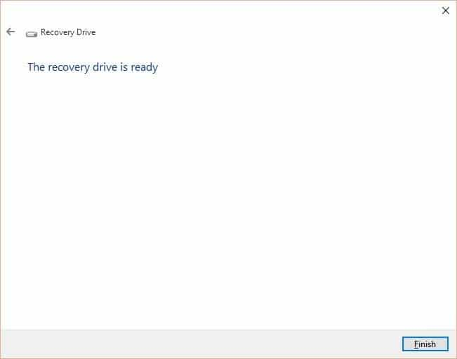 Create Windows 10 Recovery Drive step7