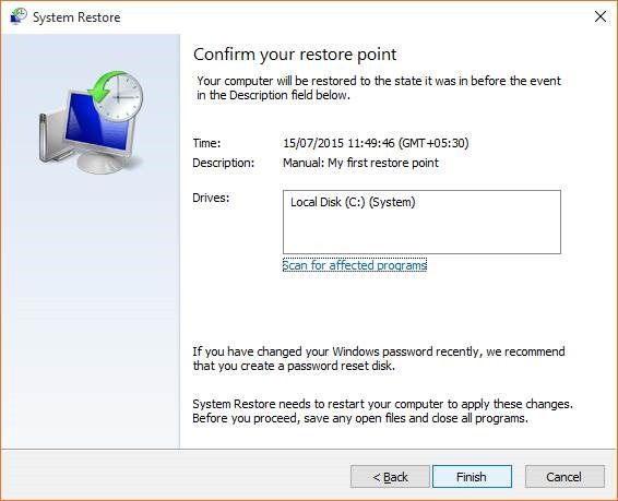 Create a Restore Point in Windows 10 step12