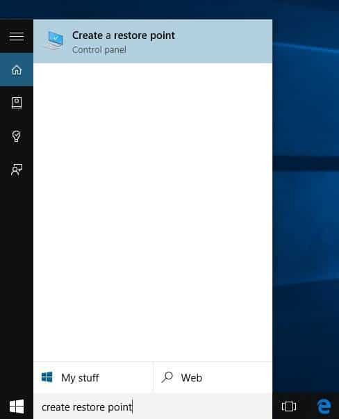 Create a Restore Point in Windows 10 step1