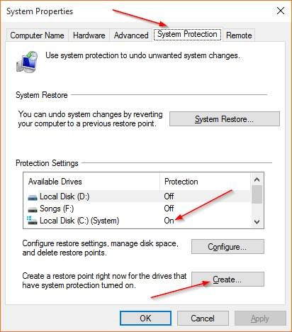Create a Restore Point in Windows 10 step2
