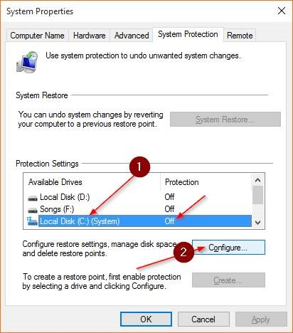Create a Restore Point in Windows 10 step3