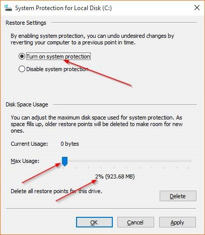 Create a Restore Point in Windows 10 step4